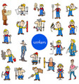 cartoon workers characters big set vector image vector image