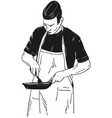chef with frying pan vector image