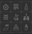 christmas icons set line art style vector image vector image