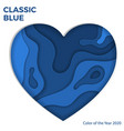 classic blue paper cut heart vector image vector image