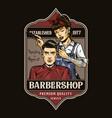 colorful vintage barbershop label vector image vector image