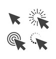 computer mouse click cursor gray arrow icons set vector image