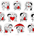 couple in love kissing valentine seamless pattern vector image vector image