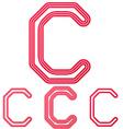 Crimson line c logo design set vector image vector image