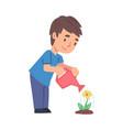 cute boy watering flower child working in garden vector image vector image