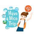 cute female backpacker traveller ready travel vector image vector image