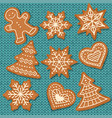 cute gingerbread elements isolated on knitted vector image vector image