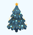decorated christmas tree with star balls vector image vector image