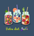 detox diet mug fresh drink vector image