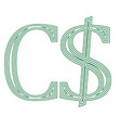 dollar canada canadian currency symbol icon vector image