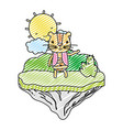 doodle famele lion animal in the float island vector image vector image
