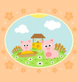 farm background with funny pig vector image