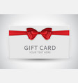 gift card template with bow and ribbon vector image vector image