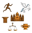 Greek mythology art and religion icons vector image vector image
