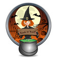 halloween banner with cute young witch and pot vector image vector image