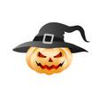 halloween pumpkin in a hat vector image
