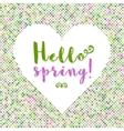 Hello Spring lettering Dot background silhouette vector image vector image
