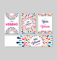 hello summer spanish greeting card label set vector image