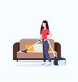 housewife using vacuum cleaner girl vacuuming vector image vector image