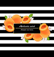 juicy peach fruits card abstract striped vector image vector image