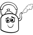 kettle and steam coloring page vector image vector image