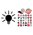 Light Bulb Flat Icon with Bonus vector image