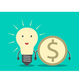Lightbulb and dollar coin vector image