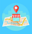 local seo banner map and shop in realistic view vector image vector image