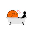 lover basketball man and ball in bath joint vector image vector image