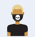 man wearing protective face mask with skull icon vector image