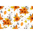 pattern seamless autumn flowers gerbera sunflower vector image vector image