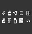 pills icon set grey vector image