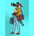 professional photographer with camera and vector image vector image