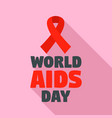 red ribbon aids day logo set flat style vector image