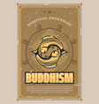 retro poster of buddhism carp fishes vector image vector image