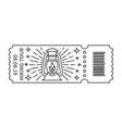 rustic camping lantern in ticket vector image vector image