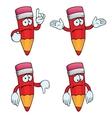 Sad cartoon pencils set vector image vector image