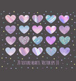 set of 20 glittermarble and holographic hearts vector image vector image