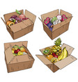 set of fresh fruits in cardboard boxes vector image