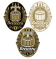 set oval labels for brewery with beer keg vector image vector image