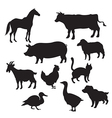 Silhouettes of domestic animals vector image