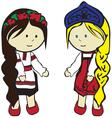 Slavic girls in costumes vector image vector image