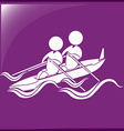 Sport icon for kayaking on purple background vector image vector image