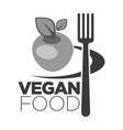 vegan food logo for vegetarian cafe or menu design vector image