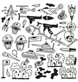 war doodles vector image