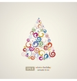 Winter holidays decoration swirls tree vector image