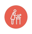 Woman changing the diaper thin line icon vector image