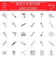 build and repair line icon set vector image
