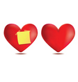 Heart with sticky note vector image