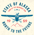 alaska t shirt with old airplane and mountains vector image vector image